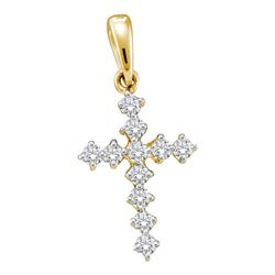 14KT Yellow Gold 0.09CTW DIAMOND CROSS PENDANT