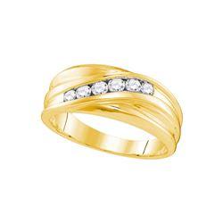 10kt Yellow Gold Mens Round Natural Diamond Band Weddin