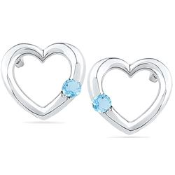 10kt White Gold Womens Round Lab-Created Blue Topaz Hea