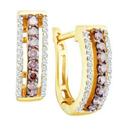 14KT Yellow Gold 0.48CT COGNAC DIAMOND FASHION EARRING
