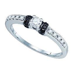 10KT White Gold 0.27CTW BLACK DIAMOND FASHION RING