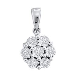 10KT White Gold 0.05CTW DIAMOND FANUK PENDANT