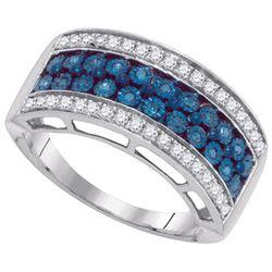 10KT White Gold 0.45CTW BLUE DIAMOND MICRO-PAVE RING