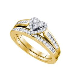 10KT Yellow Gold 0.50 CTW DIAMOND HEART BRIDAL SET