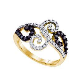 10K Yellow-gold 0.33 CTW BLACK DIAMOND FASHION RING