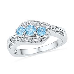 Sterling Silver Womens Round Lab-Created Blue Topaz 3-s