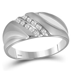 Sterling Silver Mens Round Channel-set Diamond Wedding