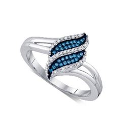 10KT White Gold 0.10CT BLUE DIAMOND MICRO-PAVE RING