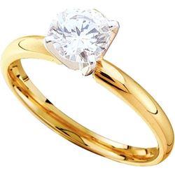 14KT Yellow Gold Two Tone 0.25CTW ROUND DIAMOND SOLITAI