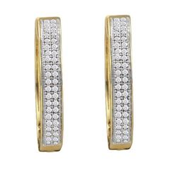 10KT Yellow Gold 0.25CTW DIAMOND MICRO PAVE HOOPS