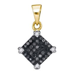 14K Yellow-gold 0.15CTW BLACK DIAMOND MICRO-PAVE PENDAN