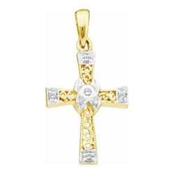10KT Yellow Gold 0.04CTW DIAMOND  LADIES CROSS PENDANT