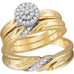 10k Yellow Gold Natural Diamond His & Hers Matching Tri