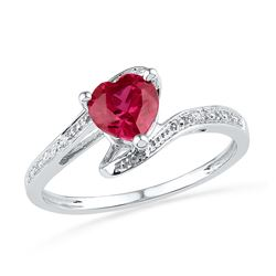 10kt White Gold Womens Heart Lab-Created Ruby Diamond-a