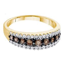 10KT Yellow Gold 0.50CTW COGNAC DIAMOND LADIES FASHION