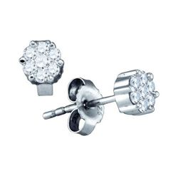 925 Sterling Silver White 0.15CTW DIAMOND FLOWER EARRIN