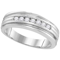 10kt White Gold Mens Round Diamond Ridged Edges Wedding