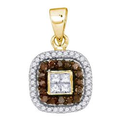 10K Yellow-gold 0.35CTW COGNAC DIAMOND MICRO-PAVE PENDA