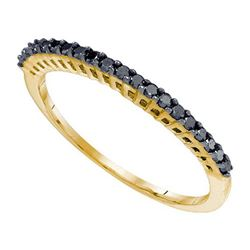 10K Yellow-gold 0.25CTW BLACK DIAMOND FASHION RING