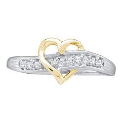10KT White Gold 0.05CTW DIAMOND HEART RING