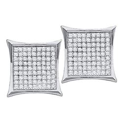 10KT White Gold 0.10CTW DIAMOND MICRO PAVE EARRINGS