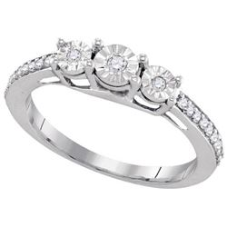 925 Sterling Silver White 0.17CTW DIAMOND FASHION RING