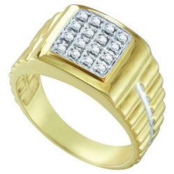 10K Yellow-gold 0.25CTW DIAMOND MENS CLUSTER RING