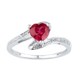 Sterling Silver Womens Heart Lab-Created Ruby Solitaire