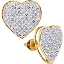 10KT Yellow Gold 0.50CTW DIAMOND HEART EARRINGS