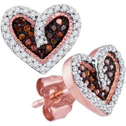 10KT Rose Gold 0.20CTW RED DIAMOND HEART EARRING