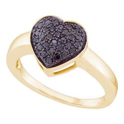 10K Yellow-gold 0.25CTW BLACK DIAMOND LADIES ROUND STUD