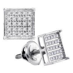 10kt White Gold Unisex Round Diamond Square Cluster Stu