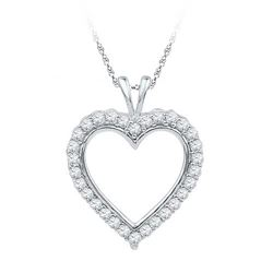 10KT White Gold 0.25CTW DIAMOND FASHION PENDANT