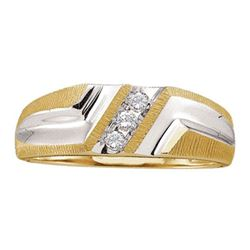 10KT Yellow Gold 0.10CTW DIAMOND FASHION MENS BAND