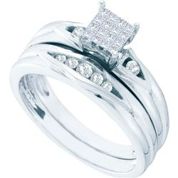 14KT White Gold 0.25CTW DIAMOND INVISIBLE BRIDAL SET