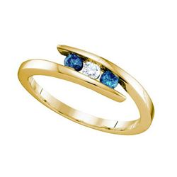 10KT Yellow Gold 0.25CTW BLUE DIAMOND FASHION BAND