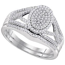 10KT White Gold 0.40CTW DIAMOND MICRO-PAVE BRIDAL RING
