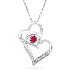 Sterling Silver Womens Round Lab-Created Ruby Diamond D