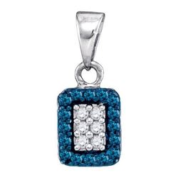 10K White-gold 0.20CTW BLUE DIAMOND MICRO-PAVE PENDANT