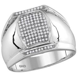 10kt White Gold Mens Round Pave-set Diamond Vertical Re