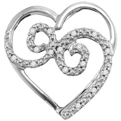 10kt White Gold Womens Round Diamond Curled Heart Penda