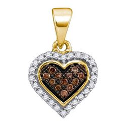 14K Yellow-gold 0.13CTW COGNAC DIAMOND MICRO-PAVE PENDA