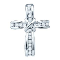 10KT White Gold 0.21CTW DIAMOND CROSS PENDANT