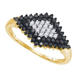 10K Yellow-gold 0.50CTW BLACK DIAMOND FASHION RING