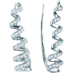 10kt White Gold Womens Round Diamond Coil Climber Earri