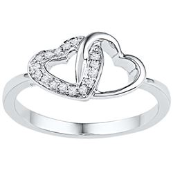 10kt White Gold Womens Round Diamond Double Locked Hear