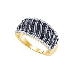 10kt Yellow Gold Womens Round Black Colored Diamond Fas