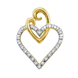 10KT Yellow Gold 0.08CTW DIAMOND HEART PENDANT
