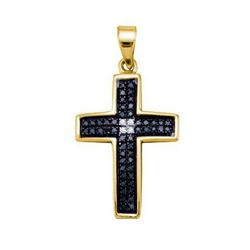 925 Sterling Silver Yellow 0.15CTW DIAMOND CROSS CHARM