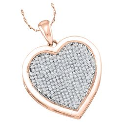 10kt Rose Gold Womens Round Natural Diamond Heart Love